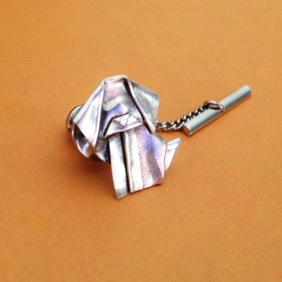silver origami dog tie tack pin