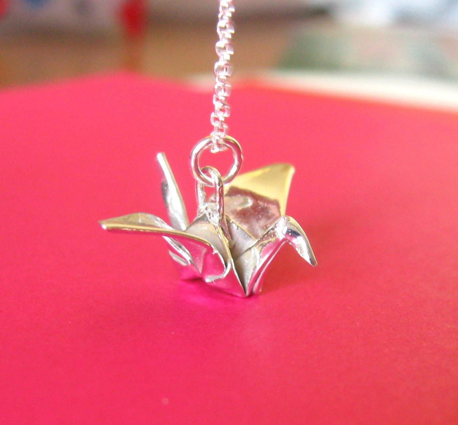 Silver origami crane pendant allegro arts crane pendant aloadofball Images