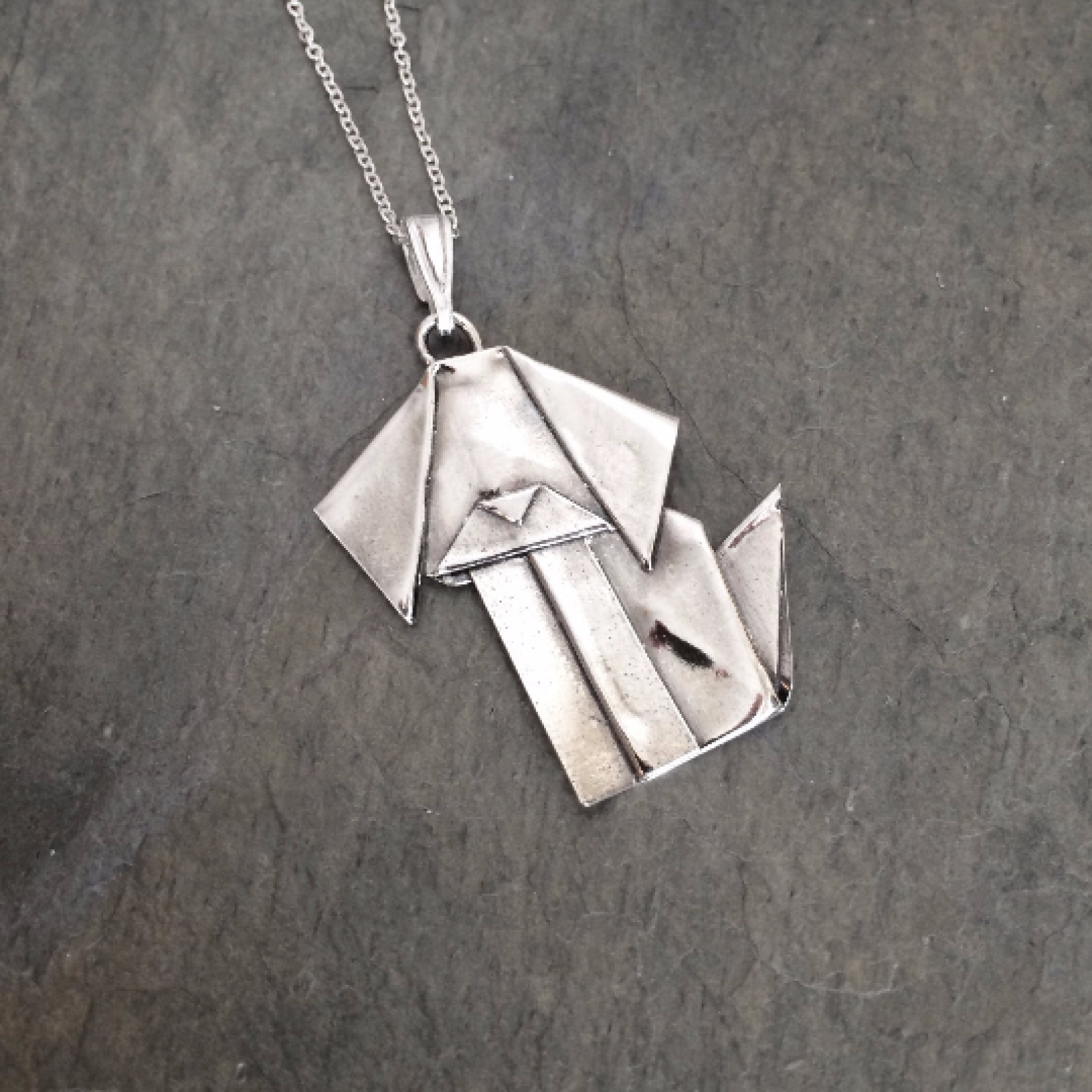 Silver origami dog pendant by allegro arts allegro arts dog pendant full size aloadofball Image collections
